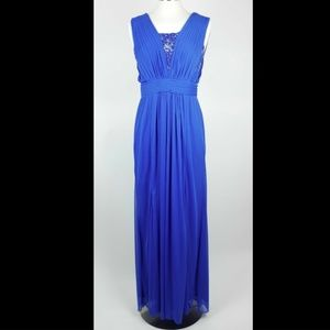 ADRIANNA PAPELL Royal blue sleeveless formal dress